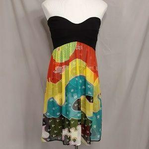 DVF Colorful Silk Asti Party Dress Strapless Midi